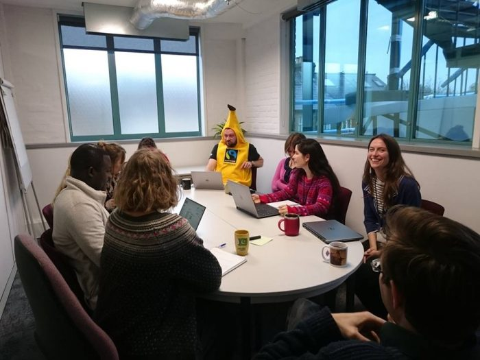 Matt in a team meeting during his fancy dress week